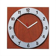 Wade Logan Floating Face Wall Clock with Square Back Back Panel Finish: Black, Floating Face Color: Aluminum Metallic, Hand Color: Black