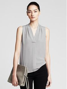 Draped Sleeveless Blouse by BR  Bought this in pretty much every color...