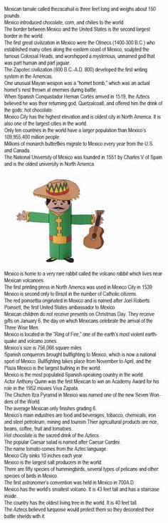 Mexico fun facts for kids http://firstchildhoodeducation.blogspot.com/2013/11/mexico-fun-facts-for-kids.html