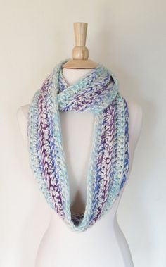 Gemstone CIRCLE SCARF  Purple Blue Crochet Loop by theyarnival, $29.00
