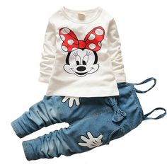 Girls Baby Minnie Mouse Tops T-shirt Bib Denim Pants Outfits Set Costume in Clothing, Shoes & Accessories, Baby & Toddler Clothing, Girls' Clothing Baby Outfits, Outfits Niños, Denim Outfits, Baby Girl Fashion, Fashion Kids, Style Fashion, My Baby Girl, Baby Love, Baby Set