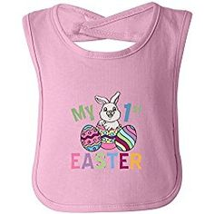 My 1st Easter funny bib in pink - One Size