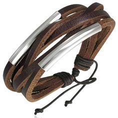 Surf Style Brown Leather Multi Strand Men's Bracelet
