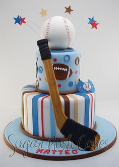 Sports Theme Cake your little all-star will love! Cupcakes, Cupcake Cakes, Push Cake, Sports Themed Cakes, Hockey Birthday, Sport Cakes, Baby Shower, Specialty Cakes, Cake Boss