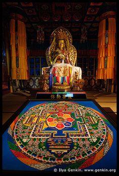 Sand Mandala Inside the Hondo, Main Hall, Daisho-in Temple, Miyajima, Honshu, Japan