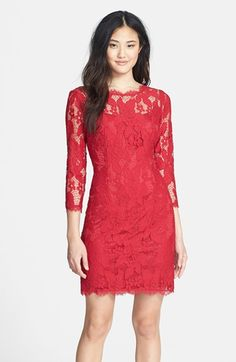 Free shipping and returns on Adrianna Papell Long Sleeve Lace Cocktail Dress at Nordstrom.com. A shapely cocktail dress is fashioned from gorgeous floral lace and designed with a sheer yoke and sleeves for delicate contrast. Scalloped edges and a back V-neck heighten the romantic appeal.