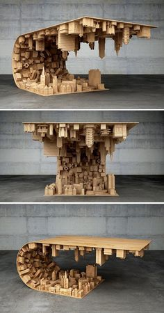 """Inception"" Coffee Table Defies Gravity and Suspends Citysca.- ""Inception"" Coffee Table Defies Gravity and Suspends Cityscape in Mid-air Coffee table Stelios Mousarris Unique Furniture, Diy Furniture, Furniture Quotes, Furniture Makeover, Business Furniture, Furniture Movers, Furniture Removal, Furniture Logo, Modern Furniture Design"