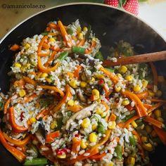 10 idei rapide pentru cina - Ama Nicolae Paella, Fried Rice, Food Art, Bacon, Food And Drink, Healthy Recipes, Healthy Food, Sweets, Vegan