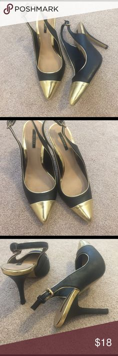 Gold and Black Sandals Size 7 Beautiful forever 21 Sandals with gold accents. Great condition. Wore a couple times. Bundle and save! Forever 21 Shoes Heels