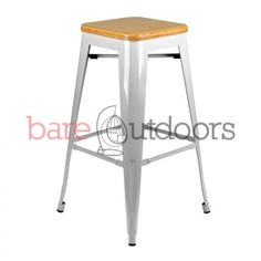 Tolix Bar Stool 75cm - Xavier Pauchard Replica - Timber Seat - PREMIUM - Silver