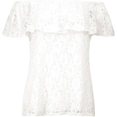 Boohoo Cleo Lace Bardot Top | Boohoo ($26) ❤ liked on Polyvore featuring tops, lace crop top, white lace top, white sequin top, white lace bodysuit and metallic crop top