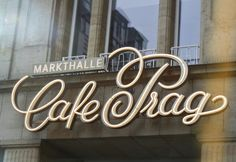 Redesignd lettering for the market hall Café Prag in Dresden, Germany