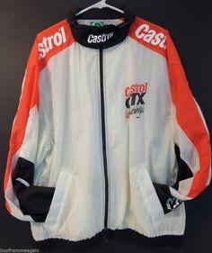 Castrol Jacket Windbreaker White Green Men XL Zipper GTX Racing Extra Large #Castrol #Windbreaker