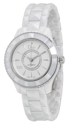 Christian Dior VIII White Diamond-set Dial White Ceramic Ladies Watch CD1235E3C001 ** To view further for this watch, visit the image link.