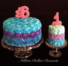 Ombré Rosette Cake & Smash Cake 1 Year Birthday Party Ideas, 1st Birthday Parties, Birthday Cakes, Smash Cakes, Cupcake Cakes, Cupcakes, Ombre Rosette Cake, Peacock Cake, Kid Pics