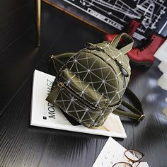 Mini Geometric embroidery Fashion Backpack Women PU Leather Casual Female  thread Double Shoulder Bag Student Bag Vintage