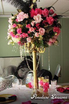 Sweet 16 event with pink uplights sectional draping and for Flower arrangements for sweet 16