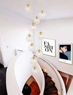 Staircase Long Chandelier Duplex Living Room Large Chandelier Modern Minimalist Villa Loft Spiral Staircase Crystal Chandelier Pendant Fixtures
