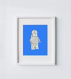 Vintage lego man print lego spaceman print lego by milisprintwork