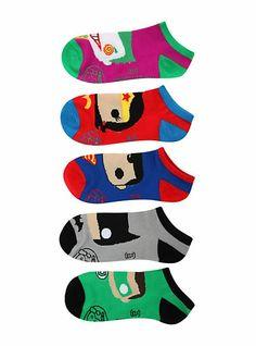 DC Comics Pop! Heroes No-Show Socks 5 Pair   Hot Topic