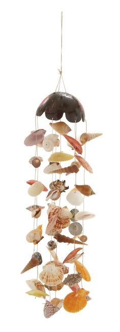 Features:  -Ideal for indoor-outdoor use.  -Features different shapes of shells.  -Light in weight.  -Color: Multi.  -Finish: Natural.  -Material: Coconut / Shells.  Product Type: -windchim and bell.