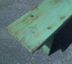 nice green paint i mixed for a straight 6ft pine bench.