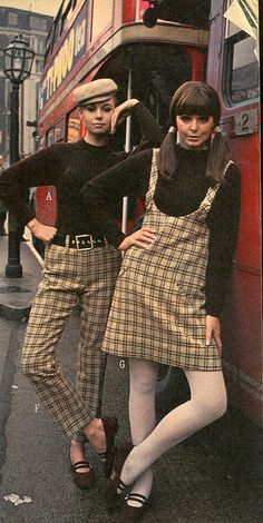 Fashion shoot on a London Routemaster bus. Mary Quant for J.C. Penney 1966