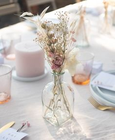 Wedding, baptism and communion table decoration with dried flowers - pink cadaqués - - Flower Table Decorations, Communion Decorations, Flower Centerpieces, Wedding Centerpieces, Wedding Decorations, Wedding Table Flowers, Floral Wedding, Picture Table, Dried Flowers