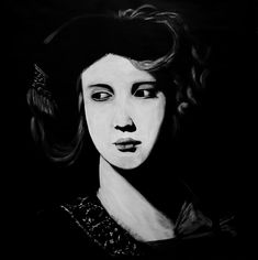 The white lady / This is from a detail of a painting in Naples Museum of Art. I only work with black and white colours. I prepare my canvas with black and I make the light coming with white.