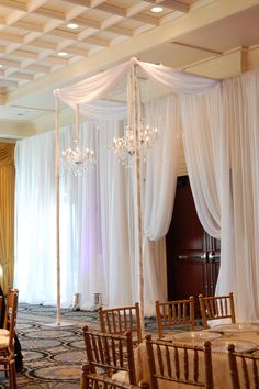 Chiffon pipe and drape made possible with extended uprights!  https://www.georgiaexpo.com/product/adjustable-sheer-wedding-backdrop/