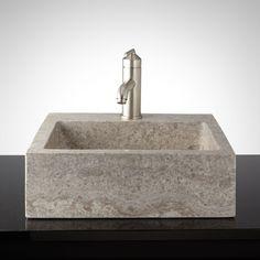 Square Polished Travertine Vessel Sink