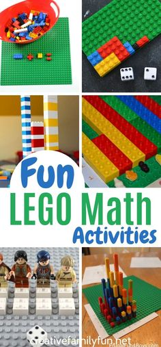 Practice symmetry, addition, subtraction, and more with these fun LEGO math games. Lego Kindergarten, Math Card Games, Lego Math, Card Games For Kids, Lego Activities, Lego Games, Fun Math Games, Kindergarten Math Worksheets, Preschool Learning Activities