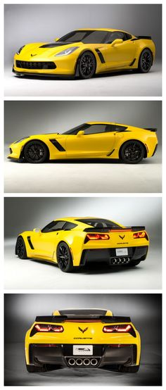 Yea Baby! Supercharged Chevy C7 Stingray #AutoAwesome  Love the highlights and shadows in these photos.  The yellow makes it stand out especially from the gray background.