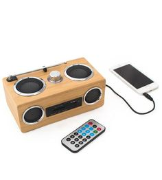 I'd love to have this ;D    Portable Bamboo Wood Sound System by bambeco  on Scoutmob Shoppe