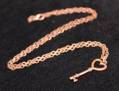 "Heart Key Pendant w/ 20"" Chain Link Necklace - Copper Tone Finish"