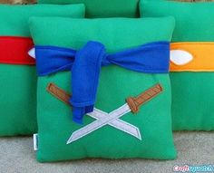 Teenage Mutant Ninja Turtles pillows with connected masks