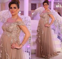 Elegant Champagne Tulle Maternity Formal Evening Dresses 2016 Plus Size Short Sleeves Lace Custom Made Special Occasion Prom Gowns Cheap Monsoon Evening Dresses Pink Evening Dresses From Whiteone, $146.0| Dhgate.Com