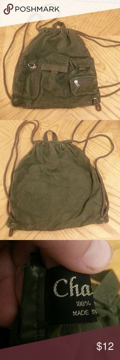 Chateau String Backpack Style Bag 100% Cotton. Very cute bag. Size 12x14in. Chateau Bags Backpacks