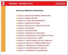 Recursos Didácticos Interactivos de la Editorial Anaya correspondientes a 3º Nivel de Educación Primaria, área de Matemáticas. Actividades complementarias en relación con los aprendizajes básicos  del área.