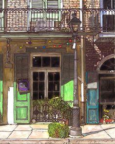 John Boles   WATERCOLOR          French Quarter Shop