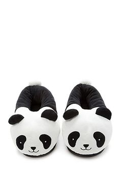 cb884afd78137 A pair of house slippers featuring an embroidered smiling panda face