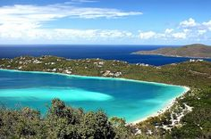 "Magens Bay, St. Thomas, USVI. Seen from ""Mountaintop"" (high point on the island) Gorgeous  I've taken a pic there ❤️"