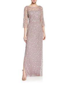 This come in light blue. V-Back Beaded Column Gown by Aidan Mattox at Neiman Marcus Dress Brukat, Hijab Dress Party, Dress Outfits, Lace Dress, Fashion Dresses, Hijab Gown, Dress Brokat Modern, Kebaya Modern Dress, Kebaya Lace