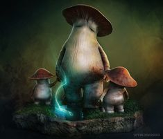 Dark Souls - Mushroom Parent and Child by tetsuok9999 myconid monster beast creature animal | Create your own roleplaying game material w/ RPG Bard: www.rpgbard.com | Writing inspiration for Dungeons and Dragons DND D&D Pathfinder PFRPG Warhammer 40k Star Wars Shadowrun Call of Cthulhu Lord of the Rings LoTR + d20 fantasy science fiction scifi horror design | Not Trusty Sword art: click artwork for source