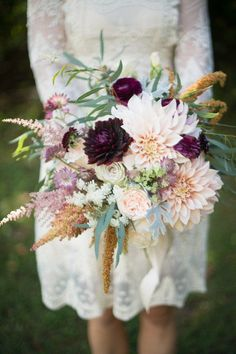 Fall wedding bouquet with burgundy + pink dahlias, roses and other blooms {Holly Heider Chapple Flowers Ltd.}