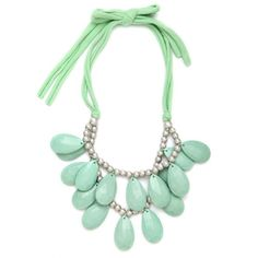 Mint Teardrop Bib (€30) ❤ liked on Polyvore featuring jewelry, necklaces, accessories, mint, multi layer necklace, double layer necklace, cord jewelry, mint teardrop necklace and bib jewelry
