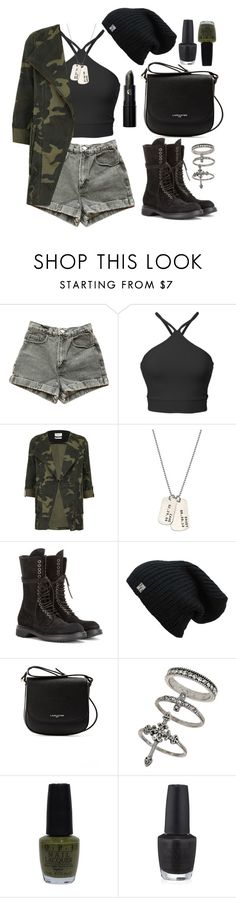 """""""Army Girl"""" by wolfiexo ❤ liked on Polyvore featuring American Apparel, Parka London, AnnaBee, Rick Owens, Lancaster, Miss Selfridge, OPI and Lipstick Queen"""