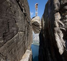 Kjeragbolten en Rogaland, Noruega