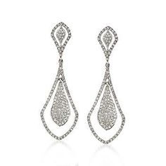 white gold and diamond pave drop earrings