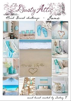This months moodboard is amazing! I love the beachy colors and photos! Perfect for a summer photo of my ds :) Here's the moodboard . Collages, Color Collage, Beautiful Collage, Beach House Decor, Home Decor, Mood Colors, Jolie Photo, Colour Board, My New Room